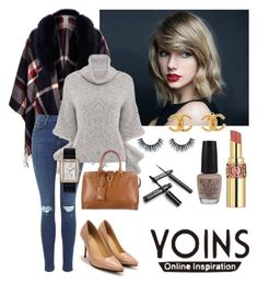 """""""♡ Grey High Neck Jumper by YOINS (prize) ♡"""" by kdy2696 ❤ liked on Polyvore featuring River Island, Yves Saint Laurent, OPI and Chanel"""