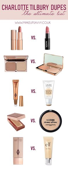 The Ultimate Charlotte Tilbury Dupe List Makeup Products makeup products list Charlotte Tilbury Pillow Talk, Charlotte Tilbury Dupe, Charlotte Tillbury, Best Charlotte Tilbury Products, Mac Brave, Eyeshadow Dupes, Drugstore Makeup Dupes, Mac Dupes, Lipstick Dupes