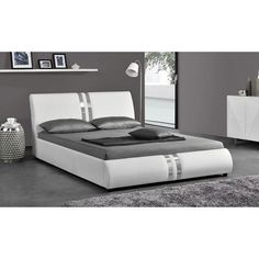 Two chromed stripes are inlaid into bright white faux leather upholstery, giving the Eagle Furniture Upholstered Platform Bed its sleek modernity. Hotel Room Design, Bedroom Bed Design, Bedroom Decor, Discount Bedroom Furniture, Bed Furniture, Furniture Design, Bedroom Designs India, Leather Platform Bed, Smart Bed
