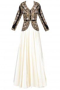 Black and Gold Zardozi Velvet Embroidered Jacket and Plain Skirt Set #rashikapoor #elegant #shopnow #ppus #happyshopping