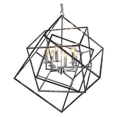 Shop for AA Warehousing Electrified 6 Light Chandelier in Chrome. Get free delivery On EVERYTHING* Overstock - Your Online Ceiling Lighting Store! Get in rewards with Club O! Rectangle Chandelier, Candle Chandelier, Black Chandelier, Candelabra Bulbs, Modern Chandelier, Chandelier Lighting, Chandeliers, Chandelier Ideas, Bedroom Lighting