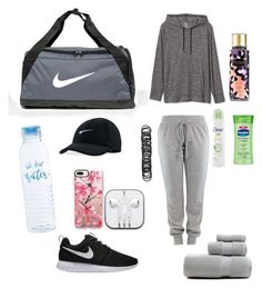"""""""what's in my gym bag"""" by kingrabia on Polyvore featuring NIKE, Gap, Casetify, Dove, Vaseline, Victoria's Secret and Forever 21"""
