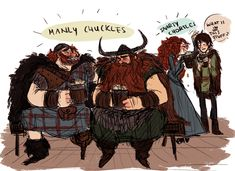 Merida's and Hiccup's dads being bros fan art- I love it!!!