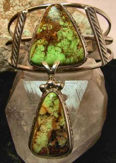 Matching Gaspeite Bracelet and Pendant. Extremely rare Quebec, CA. Gaspeite. W/Sterling Silver Chain. Price: - $ 700.00 freespiritjewelers@gmail.com