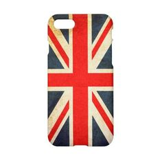 Vintage Union Jack British Flag Glossy iPhone 7 Case ($32) ❤ liked on Polyvore featuring accessories and tech accessories