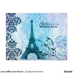 paris eiffel tower floral vintage birthday party