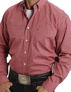 Stetson Western Shirt Mens Long Sleeve Button Red 11-001-0526-0472 RE