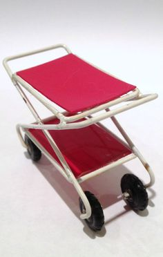 Vintage Dolls house Barton s 1950 s Metal Red Tea Trolley 1/16th Lundby