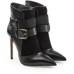 Balmain Leather Ankle Boots ($1,125) ❤ liked on Polyvore featuring shoes, boots, ankle booties, black, short black boots, black bootie, ankle boots, black booties and black leather bootie