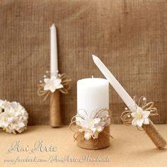 Rustic Wedding Unity Candles Burlap and Lace Unity Candle Set Rustic Unity Candle Rustic Wedding Decor Unity Ceremonty Set - Burlap Candles, Rustic Candles, Taper Candles, Baptism Candle, Candle Art, Wedding Unity Candles, Handmade Candles, Christmas Candles, Rustic Wedding