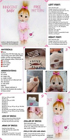 Free Amigurumi Crochet Doll Pattern and Design ideas – Page 8 of 37 – Daily Crochet! Free Amigurumi Crochet Doll Pattern and Design ideas – Page 8 of 37 – Daily Crochet!Free cute amigurumi patterns 25 amazing crochet ideas for beginners to make ea Free Baby Patterns, Crochet Dolls Free Patterns, Crochet Toys, Crochet Baby, Knitting Patterns, Free Knitting, Crochet Basics, Amigurumi Doll, Crochet Projects