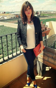 Sun coffee and style.  spring look. Black blazer, denim and colorful accesories