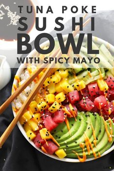 This Tuna Poke Sushi Bowl with Spicy Mayo recipe has all the best parts of a spicy tuna crunch roll in the convenience and ease of a poke bowl. This Tuna Poke Sushi Bowl with Spicy Mayo recipe has all the best parts of a spicy tuna crunch roll in the … Sushi Recipes, Salmon Recipes, Seafood Recipes, Asian Recipes, Dinner Recipes, Cooking Recipes, Healthy Recipes, Fresh Tuna Recipes, Tuna Steak Recipes