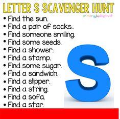 Letter S Scavenger hunt #alphabetactivities #alphabetscavengerhunt #letterscavengerhunt  #kindergarten #preschool