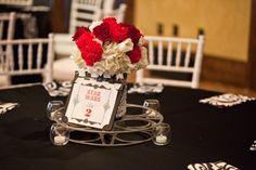 Film Wedding Red & White Centerpiece