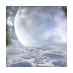 Peaceful Winter ❤ liked on Polyvore featuring backgrounds, moon e winter background