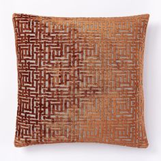 Allover Crosshatch Jacquard Velvet Cushion Cover - Copper   west elm UK