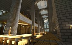 Minecraft Library Render - A render of a library created in Minecraft with large arches and places tos tudy or read books. Created by: pyrohmstr - Minecraft Gallery Minecraft Creations, Minecraft Designs, Minecraft Projects, Minecraft Ideas, Minecraft Awesome, Minecraft Stuff, Minecraft Crafts, Minecraft Construction, How To Play Minecraft