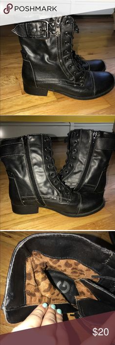 Guess combat boots Guess combat boots - they are size 6 1/2 in perfect condition. No box sorry!! Guess Shoes Combat & Moto Boots