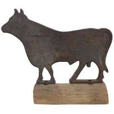 Cast Iron Bull Windmill Weight | From a unique collection of antique and modern sculptures and carvings at http://www.1stdibs.com/furniture/folk-art/sculptures-carvings/