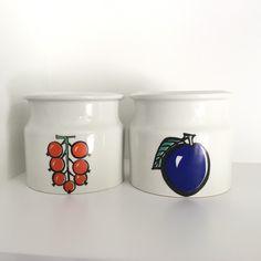 Arabia Pomona Tutti Frutti plum and red currant jar Arabia Finland Ulla Procope marmalde jar Scandinavian modern design mid century by VintageDesignTreats on Etsy https://www.etsy.com/listing/465795907/arabia-pomona-tutti-frutti-plum-and-red
