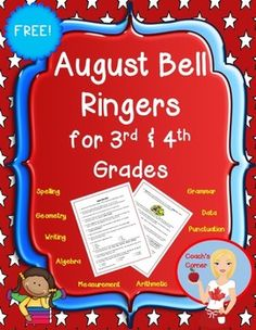 FREE!!  August Bell Ringers for 3rd and 4th Grade - 20 different tasks for students to work on at the start of each day while the teacher is handling attendance, checking homework, etc.