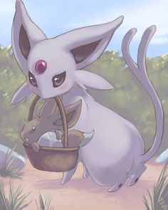 Espeon with Eevee in a Basket