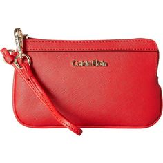 Calvin Klein Saffiano Wristlet Item (Poppy) Wristlet Handbags (2.845 RUB) ❤ liked on Polyvore featuring bags, handbags, clutches, man bag, leather clutches, leather purses, red wristlet and hand bags