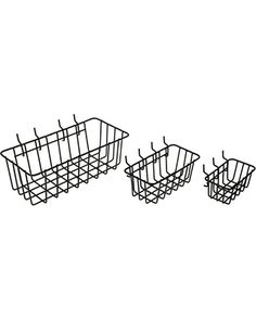 This 3-pack of Peg gable Wire Baskets from Dorman Hardware are perfect for organizing anywhere pegboard is used, or for around the house or office. The 3 different sized baskets feature a stackable design but also are able to be hung from pegboard for a variety of storage options. The durable vinyl coating is rust-resistant and easy to clean. Dorman Hardware offers a wide assortment of high quality, affordable and easy-to-use items for every room in your home.