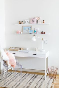 Office + gallery wall deskDecorating is part of Desk decor - Home Office Design, Home Office Decor, Office Desk, Office Designs, Office Furniture, Work Desk, Ikea Office, Study Desk, Study Rooms