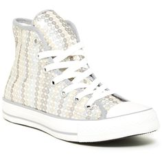Converse Sequined Hi Top Sneaker (Women) (300 DKK) ❤ liked on Polyvore featuring shoes, sneakers, silver, silver high top sneakers, silver high tops, silver shoes, sequin shoes and silver sequin sneakers