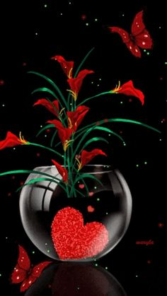 Vase with red heart & red flowers gif Beautiful Gif, Beautiful Roses, Beautiful Pictures, Coeur Gif, Gif Bonito, Beau Gif, Flowers Gif, Red Flowers, I Love Heart