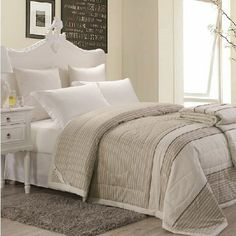 Grey & White Striped Bedding
