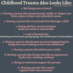 e have a belief that childhood trauma looks like extreme catastrophic events. I work with many adults who struggle with feeling stuck, Mental And Emotional Health, Mental Health Matters, Emotional Abuse, Mental Health Awareness, Emotional Intelligence, Ptsd Awareness, Paz Mental, Inner Child Healing, Trauma Therapy