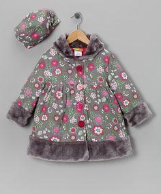 Gray Floral Coat & Hat - Infant, Toddler & Girls