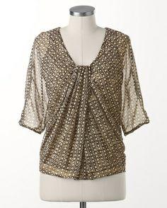 Midnight chiffon blouse - [K19127]