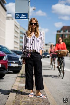 I don't reckon this got enough play. striped shirt, Moschino belt, culottes & slides. well done sista. Copenhagen.
