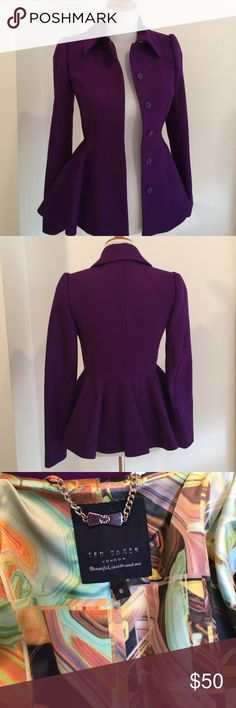 Ted Baker Jacket Gorgeous purple jacket, 70% wool, 10% cashmere, lined jacket, perfect condition, Ted Baker size 0 Baker by Ted Baker Jackets & Coats Blazers
