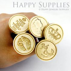 Design Your Own Gold Plated Wax Seal Stamp by HappyJewelrySupplies, $18.50