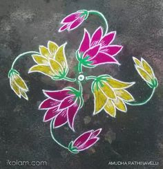 Rangoli Flowers 15th Dotted Kolam (connected dots) | m.iKolam.com Rangoli Side Designs, Simple Rangoli Designs Images, Rangoli Designs Latest, Free Hand Rangoli Design, Small Rangoli Design, Rangoli Ideas, Rangoli Designs With Dots, Rangoli Designs Diwali, Rangoli With Dots