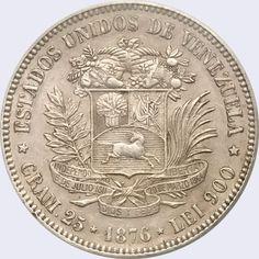 Pieza mv1v-aa01 (Reverso). Moneda de Venezuela. 1 Venezolano. Diseño A, Tipo A. Fecha 1876