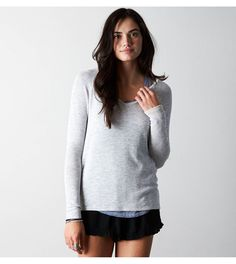 White  AEO Feather Light V-Neck Sweater