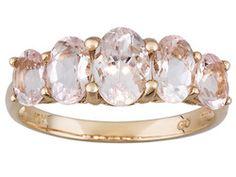 Cor-de-rosa Morganite 2.10ctw Oval 10k Rose Gold 5-stone Ring