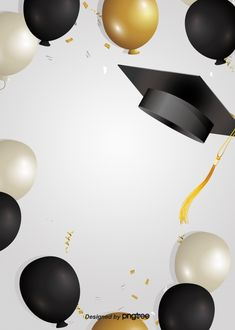 Creative Background Of Happy Graduation Hat Graduation Album, Graduation Diy, Graduation Party Desserts, Graduation Decorations, Balloon Background, Creative Background, Graduation Wallpaper, Black And White Balloons, Certificate Background