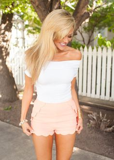 Online boutique. Best outfits. Scalloped Shorts Neon Coral - Modern Vintage Boutique