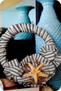 """not feeling the sea star but I can find a """"center piece"""" for this wreath"""