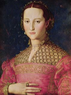 "Portrait of Eleonora di Toledo by Agnolo di Cosimo (""Il Bronzino,"" Italian, 1503-1572), 1545.  What a beautiful dress"