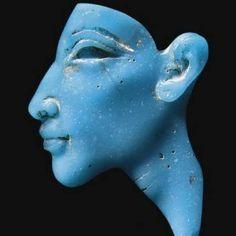"totenbuch: "" Egyptian Turquoise Glass Inlay of Akhenaten, New Kingdom, Amarna Period, Dynasty XVIII, c. 1353-1336 BC The Amarna Period was an era of Egyptian history during the latter half of the..."
