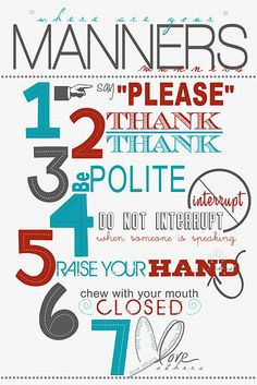 Manners Wall Art; Would be great for the classroom!