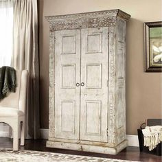 Dakota Unique Handcarved Rustic Solid Wood Large Armoire With Shelves Wardrobe Furniture, Home Decor Furniture, Unique Furniture, Armoire Wardrobe, Furniture Storage, Bedroom Furniture, Reclaimed Wood Furniture, Solid Wood Furniture, Painted Furniture
